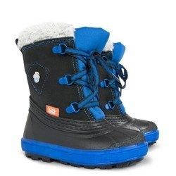 c205e39294718 Czarno-Niebieskie śniegowce dziecięce Billy A (20-29) ze ściągaczem